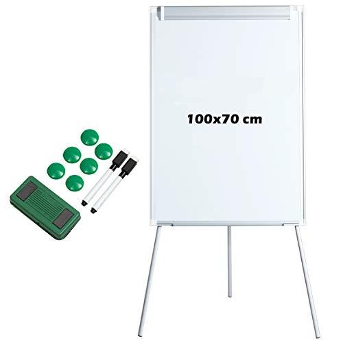 GOPLUS Whiteboard mit Dreibein Ständer & magnetisch trocken abwischbares Board/Flipchart-Staffelei-Whiteboard, höhenverstellbares Standboard, 70 x 100cm