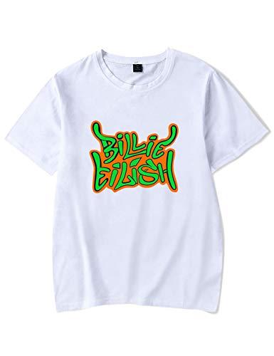 Camiseta Billie Eilish Niña, Camiseta Billie Eilish Unisex Mujer Hombre Impresión Manga T-Shirt Abecedario Billie Eilish Camisa de Verano Billie Eilish Camisetas y Tops (Blanco,S)