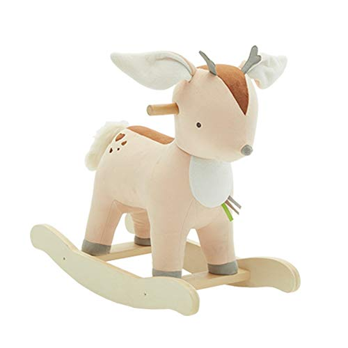 Kibten La felpa del bebé mecedora caballo de juguete ciervo lindo de la felpa del animal relleno del eje de balancín de reno infantil mecedora animales Niño Niña de montar a caballo del cervatillo reg