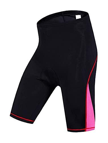 Pantalones cortos de ciclismo con bolsillo con cremallera, cintura elástica gimnasio deportes pantalones cortos con cojín hembra, jogging fitness marathon apretado secado rápido transpirable apretado