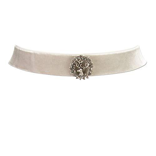 Trachtenkette Samt mit Hirschemblem - Damen Samt-Kropfband enganliegend, Kropfkette elastisch für Trachtenbluse, Dirndlkette breit,...
