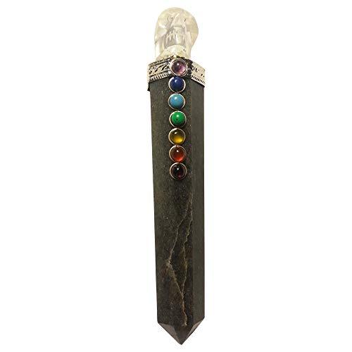 Chakra edelsteen staaf (energiestaafje) met bergkristal schedel verschillende soorten