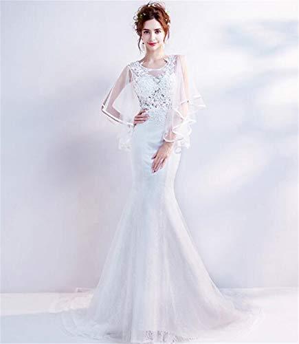 LYJFSZ-7 Hochzeitskleid,Stilvolles Damenhochzeitskleid, Meerjungfrau-Design, Schmetterlingsärmel, Spitzenstickerei, Bodenlangen, Langärmliges Brautkleid No.74228