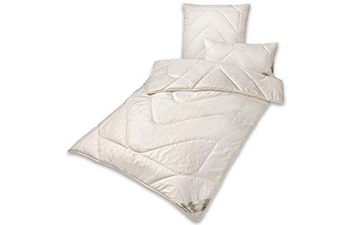 Bettdecke Wintersteppbett KBT Merino Schafschurwolle mit Zirbe BIO KBA Baumwolle waschbar, Größe:135 x 200