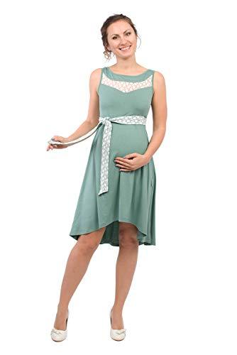 Viva la Mama Elegantes Schwangerenkleid Stillmode Kleid Damen festlich Umstandskleid Spitze - ALMA mintgrün - L