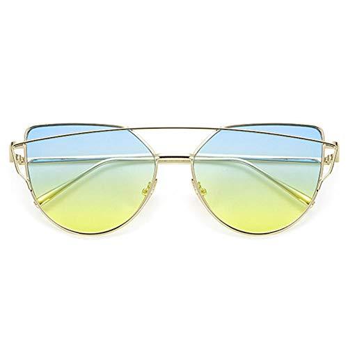 chuanglanja Gafas De Sol Mujer Senderismo Gafas De Sol Mujer Vintage Metal Reflectante Cat Eye Gafas Para Mujer Espejo Retro-Color-G