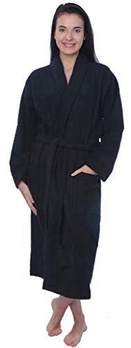 Womens 100% Cotton Shawl Collar Robe Terry Cloth Bathrobe Available in Plus Size BRT1_Y19 Black 2X