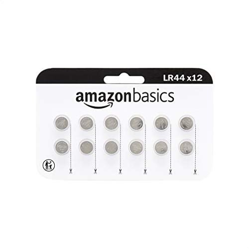 Amazon Basics 12 Pack LR44 1.5 Volt Alkaline Button Cell Battery, Long Lasting Power in Child Resistant Packaging