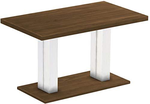 Brasilmöbel Säulentisch Rio UNO 140x80 cm Nussbaum Weiß Tisch Esstisch Pinie Massivholz Esszimmertisch Holz Küchentisch Echtholz Größe und Farbe wählbar