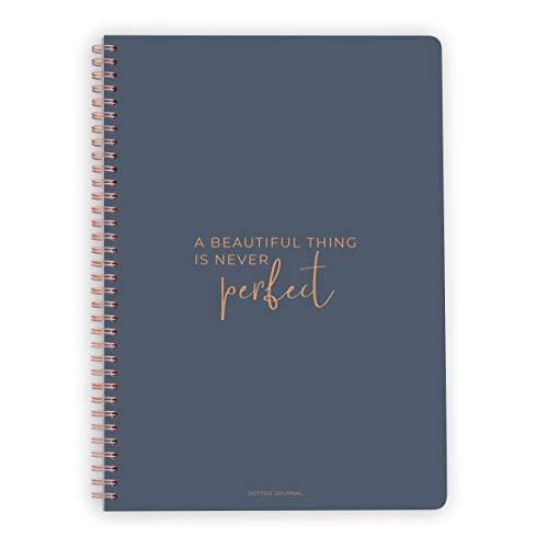 purepaper Notizblock | Spiralblock | Bullet Journal | Beautiful Is Never Perfect, DIN A4, Softcover, 120g, gepunket, dotted, punktkariert, dot grid, 120 Seiten