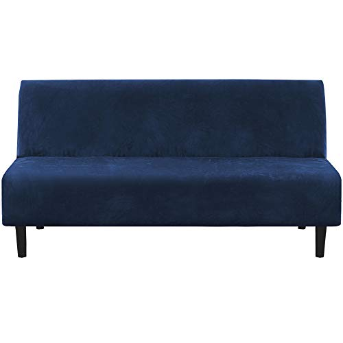 Real Velvet Futon Cover Armless Sofa Covers Sofa Bed Covers Stretch Futon Couch Cover Sofa Slipcover Furniture Protector Feature Thick Soft Cozy Velvet Fabric Form Fitted Stay in Place, Navy