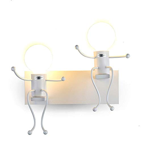FSTH Lámparas de Pared de Creativas Escalonadas Personas Individuales Lámparas de Pared Dormitorio Sala de Moderna Lámparas de Cabecera de Metal Regalo de Pared Iluminación E27 (Blanco-2)