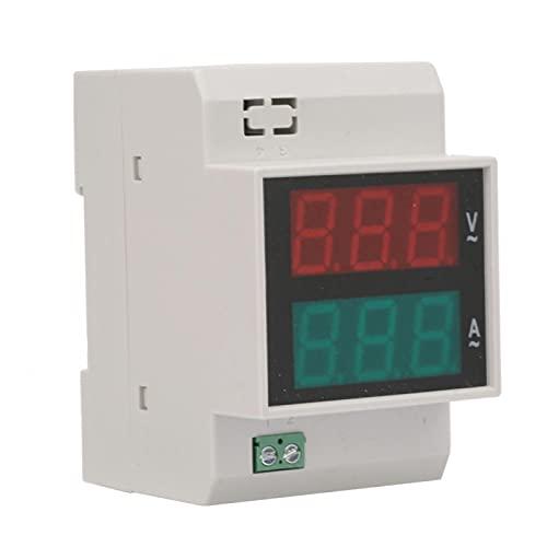 Voltímetro de amperímetro de junta a presión de doble color de pantalla dual para medidor de CA para riel guía estándar de 35 mm(AC80-300/100A)