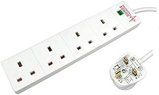 4 Way/Gang 5m Surge Protected UK Plug Mains Extension Power Block Multiboard