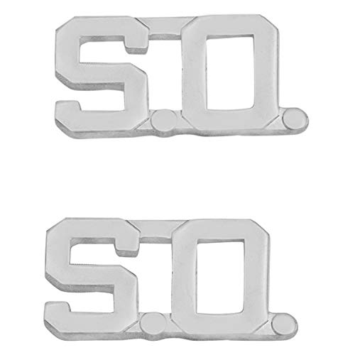 Smith & Warren 1/2' S.O. Letter Collar Brass Rank Insignia Silver Finish Sheriff Uniform Pin