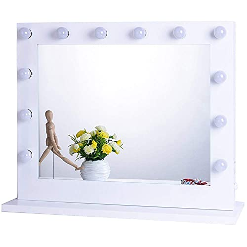 Chende Large Vanity Mirror with Lights, 31.5 x 23.6 Inches Hollywood Lighted Mirror with Outlet for Bedroom, Replaceable Light Bulbs and Gloss Metal Frame, LED Vanity Makeup Mirror for Wall (White)