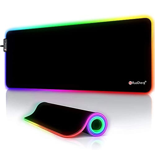 RuoCherg Alfombrillas de Ratón RGB, 12 Modos Led Gaming Mouse Pad con Superficie Impermeable Base de Goma Antideslizante para Gamers, PC y Portátiles