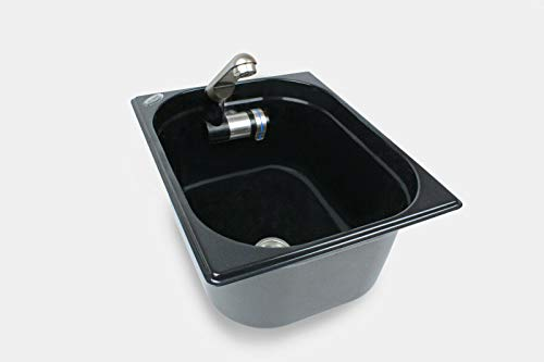 Edelstahl Spülbecken Camping Spüle Waschbecken Design schwarz + Ablauf 325x265x150mm Barwig schwarz Chrome Design Wasserhahn integriert (ad-ideen)