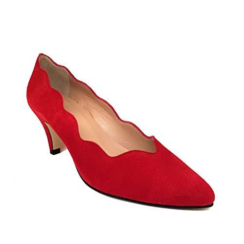 ISCOBA - Salones Tacones Rojos de Piel para Mujer con Olas -...