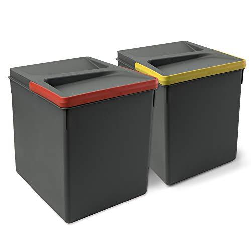 Emuca - Pattumiere per cassetto, contenitori Raccolta differenziata per Base rifilabile, Kit di 2 cestini di Altezza 266mm e capacità 15 Litri