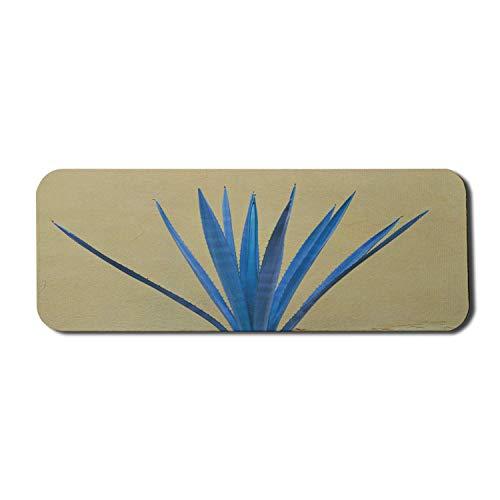 Exotisches blaues Computer-Mauspad, Illustration des mexikanischen Tequila-Produktionselements der Agavenpflanze, rechteckiges rutschfestes Gummi-Mousepad großes hellgelbes Grün und Blau