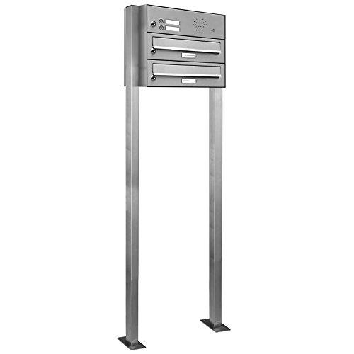 AL Briefkastensysteme 2er V2A Edelstahl Stand Briefkasten mit Klingel rostfrei als 2 Fach Briefkastenanlage DIN A4 in Doppel-Postkasten Design modern