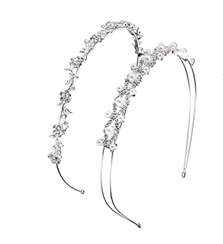 Voarge 2 Stück Strass Haarreif Haarschmuck, Elegant Weiße Perlen, Kristall Haarreif Blumen Blätter Form Haarband Haarschmuck für Hochzeit Damen Braut Brautjungfern