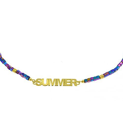 Remo Gammella Pulsera personalizada de plata 925 bañada en oro blanco o amarillo y piedras naturales. Pulsera personalizable con nombre o texto oro blanco