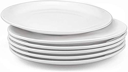 Lawei 6 szt. porcelanowe talerze obiadowe okrągłe zastawa stołowa naczynia obiadowe naczynie - białe, 25 cm