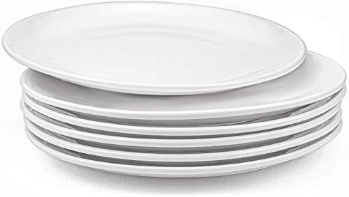 Lawei 6 platos redondos de porcelana para servir vajilla vajilla vajilla vajilla - blanco 25 cm