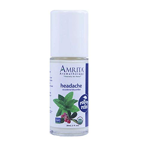 Amrita Aromatherapy Organic Headache Roll-On Relief, Natural Painkiller, Organic Lotion Base with Peppermint, Yellow Birch, and Sweet Lavandin Essential Oils, 30 milliliters