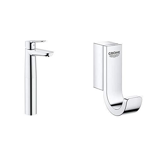 Grohe BauEdge - Grifo de lavabo, cuerpo liso, con sistema de fácil instalación, tamaño XL (Ref. 23761000) + Grohe Selection - Colgador, cromo (41039000)