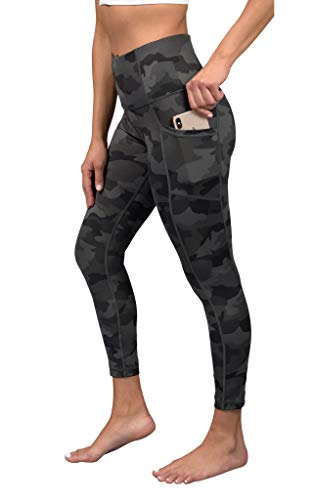 Yogalicious High Waist Soft Printed Ankle Leggings for Women - Green Camo Pocket - Large