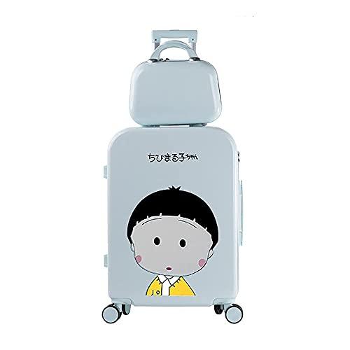 QIXIAOCYB Maleta para estudiante con carrito de equipaje para niño y niña, código de viaje, equipaje, estilo madre e niño, color rosa, 55,88 cm (color: verde, tamaño: 55,88 cm)