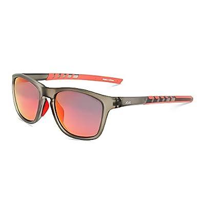 JOJEN Polarized Sports Sunglasses for Men Women Baseball Running Cycling Fishing Golf Tr90 Ultralight Frame JE001(Grey Frame Red Revo Lens)