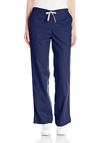 WonderWink Women's Wonderwork Flare Leg Scrub Pant, Navy, Medium Petite
