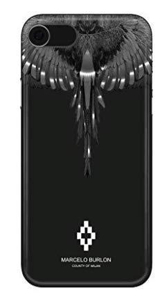 MARCELO BURLON COUNTY OF MILAN Cover/Custodia Compatibile con iPhone 8/7/6s/6 - MOD. Wings Silver - Custodia Burlon Originale - Rigida - Finitura Soft Touch - Protezione Frontale rialzata