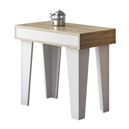 Comfort Products SelectionHome - Mesa Consola Comedor, Mesa Cocina o recibidor Acabado en Blanco Mate y Roble Cepillado, Modelo KL Nordic, Medidas 52-300 x 90 x 79 cm de Alto