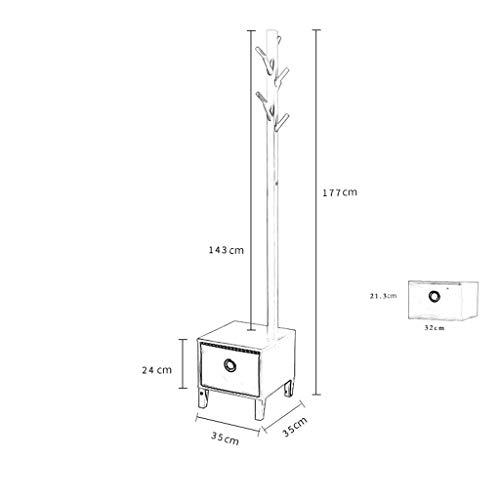 TLMY Floor Coat Rack Multifunctionele Porch Hanger Met Schoenbank Schoenenkast Slaapkamer Bedkant Hanger Met Lade, Basis Diameter 35cm X Hoogte 177cm. Jas rek