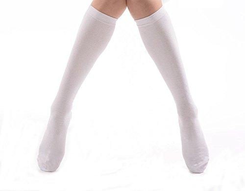 linda-teiko 無地スクールソックス ハイソックス 3足セット 20-22cm, ホワイト