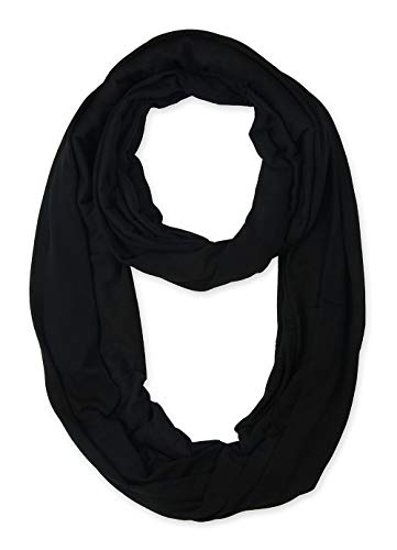 Corciova Light Weight Black Solid Colors Infinity Scarf Endless Loop
