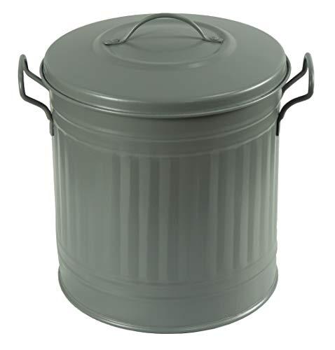 HRB Mülleimer und Wäschebehälter Zink, Vintage Design, sehr stabil, Größen (Anthrazit, 15 Liter)