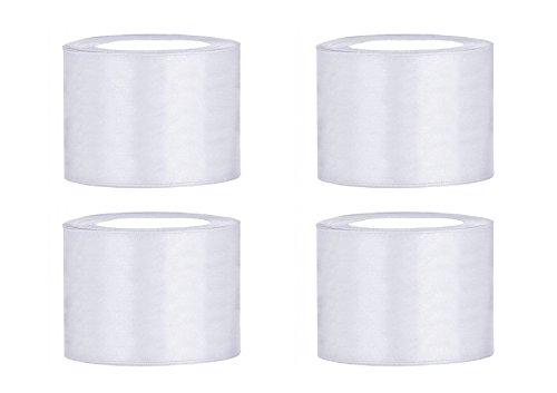 SiDeSo® SATINBAND 100m x 50mm (4x25m Rolle) viele Farben Hochzeit Dekoband Geschenkband Schleifenband (weiß)