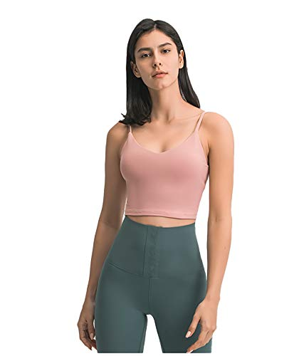 Chaleco de yoga con cuello en V, ajuste ajustado, ropa interior deportiva para correr para mujer, color miel Pomelo-XS