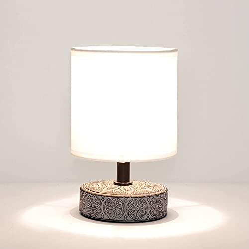 Lámpara de mesa decorativa de cerámica y tela, 20 cm, pequeños adornos,...