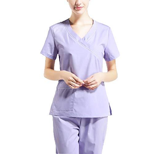 Frauen Kurzarm Peelingset mit V-Ausschnitt Arbeitskleidung Medizinische Unisex-Tunika Für Ärzte,Krankenschwestern,Zahnärzte,Tierärzte,Oder andere Berufe wie z,S