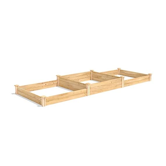 """Greenes Fence RC4T4S24B Two Tiers Dovetail Raised Garden Bed 3 Made in the USA from naturally rot- and insect-resistant cedar. The wood is 100% chemical free. Middle tier offers 10. 5"""" depth and lower tiers are 7"""" deep Package contains 4 Tall Posts, 4 Short Posts, 24 Boards, 8 Caps, and 8 Screws"""