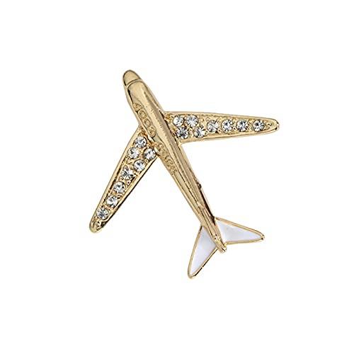 SHUJIA Crystal Airplane Broche Pin Rhinestone Aircraft Pins and Broches Hombres; S Cuello Accesorios de Aguja