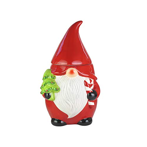 "American Atelier Gnome Canister- Ceramic Jar, Holiday Design w/Airtight Lid for Cookies, Candy, Coffee, Flour, Sugar, Rice, Pasta, Cereal & More, 10.4"", Red/White"
