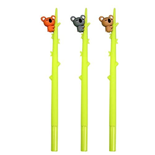 3 bolígrafos de gel de oso Koala rellenables, para Halloween, Navidad, fiestas, regalo para estudiantes, niños, punta fina, 0,5 mm, color negro y azul para niños y adultos